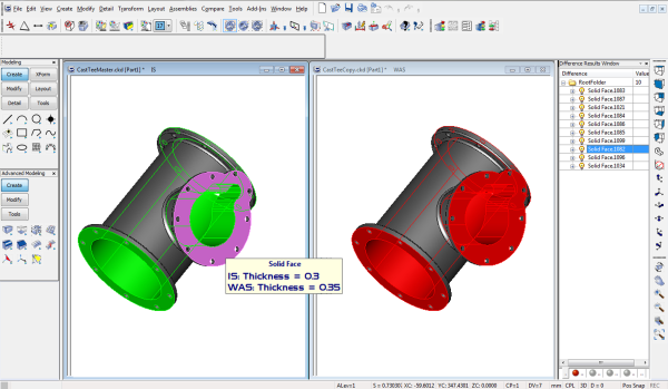 CAD models compared in Direct CAD